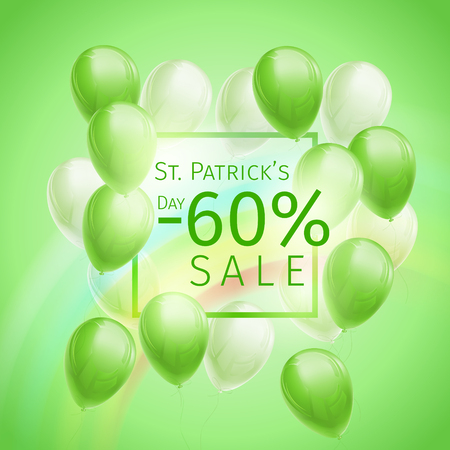 60 percent off discount banner for St. Patricks Day with flying green and white balloons, frame and rainbow on green background