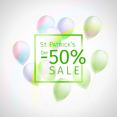 50 percent discount St. Patricks Day sale banner with flying green and white balloons, frame and rainbow on white background