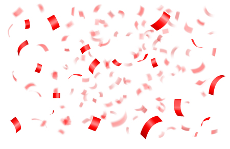Falling shiny red confetti isolated on black background with depth of field in foreground and blurred particles in the background. Realistic bright festive tinsel Illustration