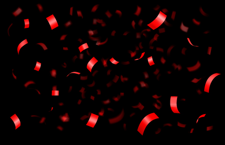 Falling shiny red confetti isolated on black background with depth of field in foreground and blurred particles in the background. Realistic bright festive tinsel Иллюстрация