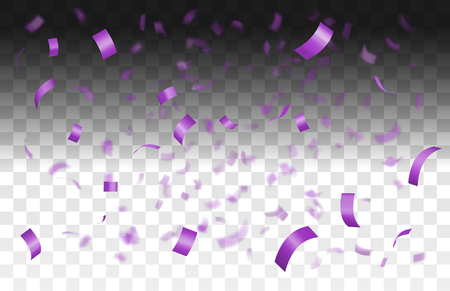 Falling shiny violet confetti isolated on transparent background with depth of field in foreground and blurred particles in the background.Realistic bright festive tinsel purple color