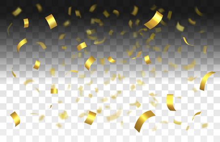 Falling shiny golden confetti isolated on transparent background with depth of field in foreground and blurred particles in the background.Realistic bright festive tinsel golden color