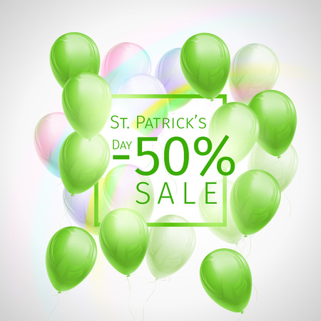 Banner with 50 percent off sale discount for St. Patricks Day with flying green and white balloons, frame and rainbow on white background