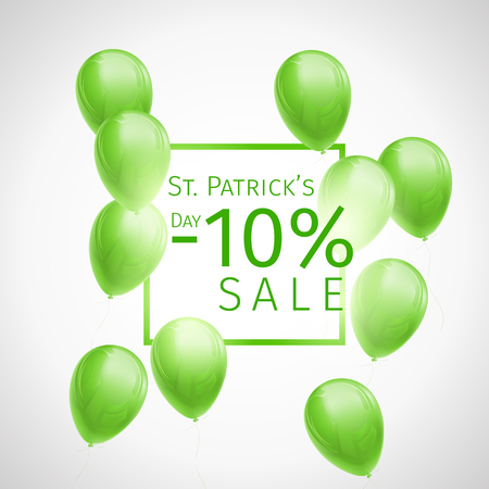 Banner with 10 percent discount for St. Patricks Day with flying green and white balloons and frame