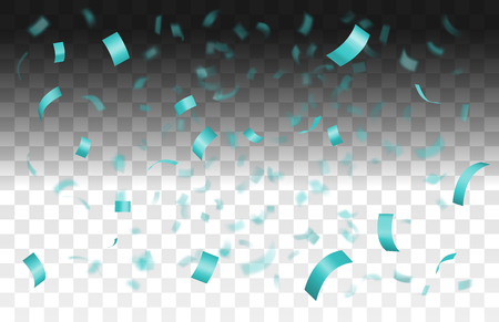 Falling shiny blue confetti isolated on transparent background with depth of field in foreground and blurred particles in the background.Realistic bright festive tinsel