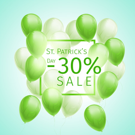 Banner with 30 percent sale discount for St. Patricks Day with flying green and white balloons and frame on blue background