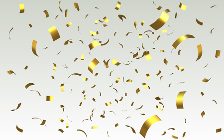 Falling shiny golden confetti from curved foil isolated on light background. Gold color bright festive tinsel