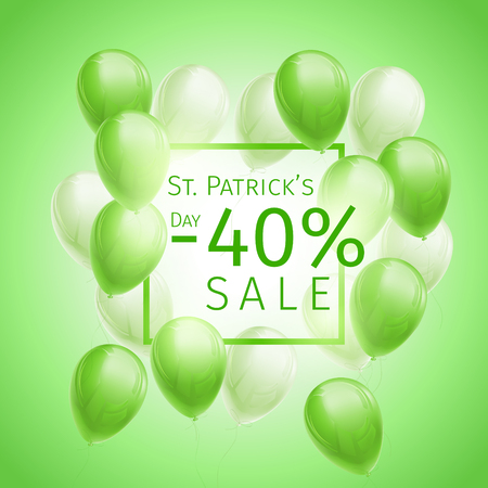 40 percent off sale St. Patricks Day Sale Banner with flying green and white balloons and frame on green background Ilustração