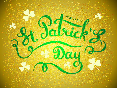 Golden elegant design caligraphic greeting card Happy St. Patricks Day on gold background from particles