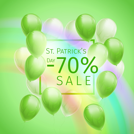 Banner with 70 percent off discount for St. Patricks Day with flying green and white balloons, frame and rainbow on green background  イラスト・ベクター素材