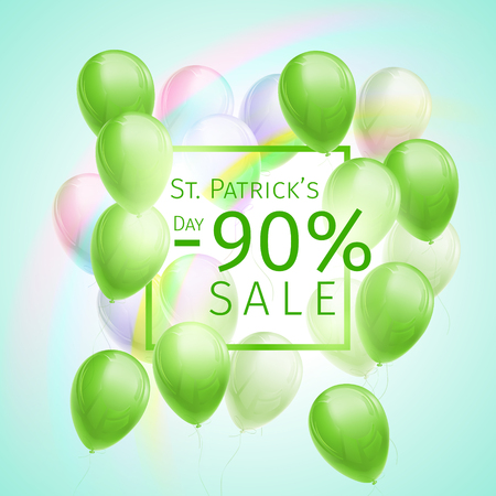 Banner with 90 percent sale discount for St. Patricks Day with flying green and white balloons, frame and rainbow on blue background