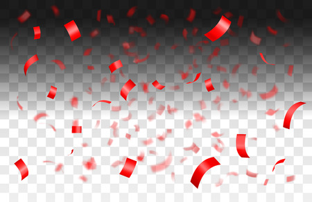 Falling shiny red confetti isolated on transparent background with depth of field in foreground and blurred particles in the background.Realistic bright festive tinsel