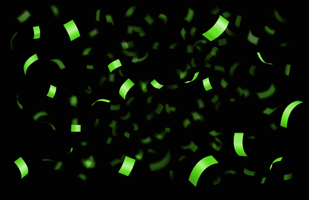 Falling shiny green confetti isolated on black background with depth of field in foreground and blurred particles in the background. Realistic bright festive tinsel Ilustração