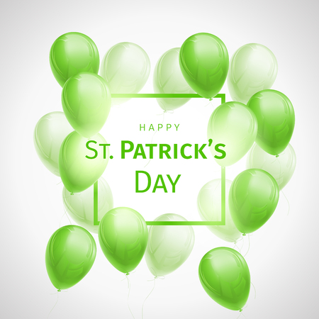 Happy St. Patricks Day greetings card with flying green and white balloons and frame on white background