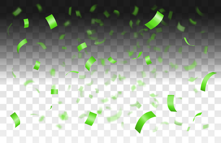 Falling shiny green confetti isolated on transparent background with depth of field in foreground and blurred particles in the background.Realistic bright festive tinsel