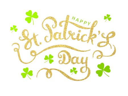 Elegant greeting card design with creative shiny text from golden particles. Happy St. Patricks Day on white background
