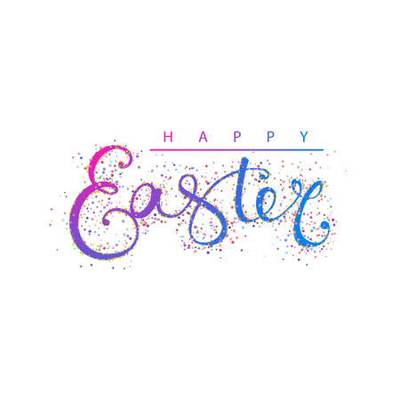 Hand drawing Happy Easter typography lettering poster. Colorful elegant calligraphy sign with gold particles around isolated on white background. Vector illustration Foto de archivo - 121675847