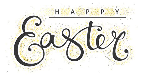 Hand drawing Happy Easter typography lettering poster. Elegant calligraphy sign with gold particles around isolated on white background. Vector illustration Foto de archivo - 121675850