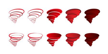 Illustrazione di tornado con anelli rotanti logo vorticoso. Set di icone vorticose con vista dall'alto e dal basso Logo