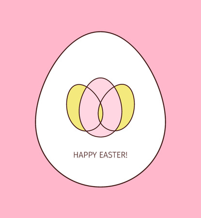 Happy Easter egg linear icon. Thin line illustration. Logo made from three colored intersecting eggs inside the big whine egg on pink background 일러스트