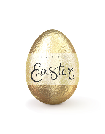 Happy easter realistic golden glitter decorated egg with inscription isolated on white background. Vector illustration for greeting card, ad, promotion, poster, flyer, web-banner, article