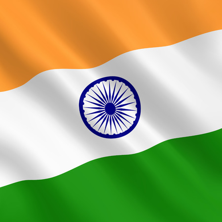 Flag of India from luxurious fabric with a liquid wave or wavy folds. Vector illustration Vektorové ilustrace