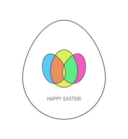 Happy Easter egg linear icon. Thin line illustration. Logo made from three colored intersecting eggs inside the big whine egg on white background. Vector isolated outline drawing