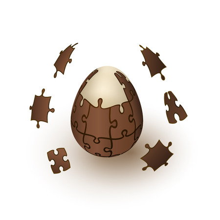 Chocolate puzzle egg explosion. Abstract Easter egg. Chocolate surprise egg is taken apart by pieces. Vector isolated 3D object illustration
