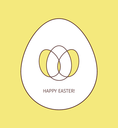 Happy Easter egg linear icon. Thin line illustration. Logo made from three colored intersecting eggs inside the big whine egg on yellow background