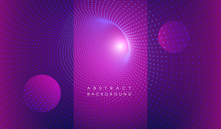 Vector abstract futuristic aesthetic background. Digital time funnel. Spatial-time continuum concept. Colorful blue magenta backdrop