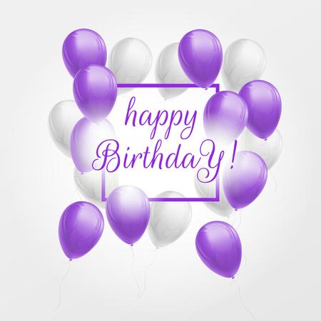 Carte de voeux joyeux anniversaire avec gros bouquet de ballons violets et blancs, cadre et lettrage. Illustration 3d vectorielle