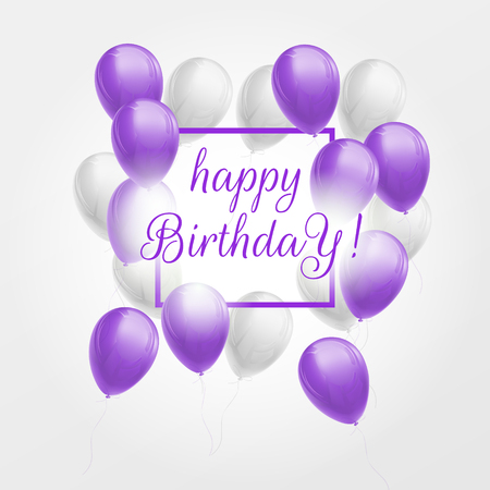 Happy birthday greeting card with large bunch of violet and white balloons, frame and lettering. Vector 3d illustration