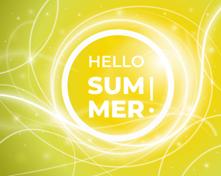Hello Summer. Creative graphic vector lettering illustration. Glowing curved lines pattern. Sunny mood design