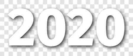 2020 year white isolated number with shadow.