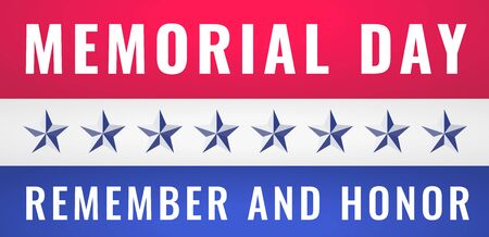 Memorial Day USA Greeting Card Banner Wallpaper. Remember and Honor Stock Illustratie