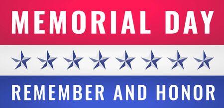 Memorial Day USA Greeting Card Banner Wallpaper. Remember and Honor 일러스트