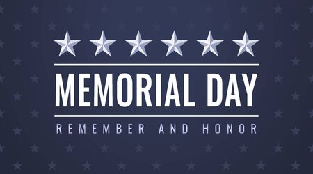 US Memorial Day - Remember and Honor greeting card with symbols of the USA Standard-Bild - 129813245