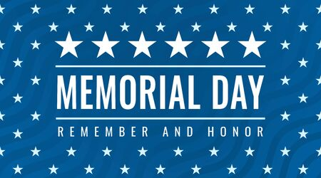 Memorial Day - Remember and Honor greeting card with inscription on blue patriotic background with stars and stripes