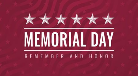Memorial Day - Remember and Honor greeting card with inscription on red patriotic background with stars and stripes Stock Illustratie