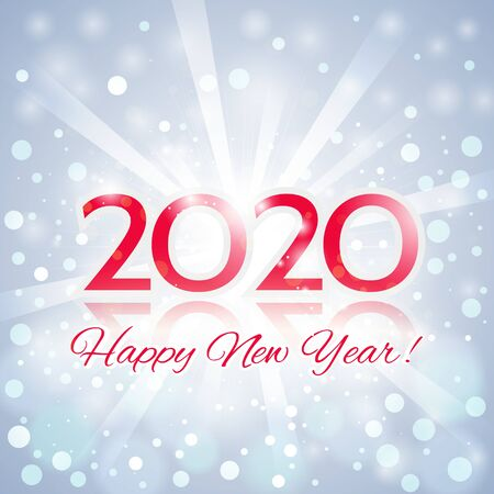 Happy New Year Greeting Card. Beautiful Elegant Christmas Composition with a Bright Flash of Light and the Red Inscription 2020 Happy New Year!