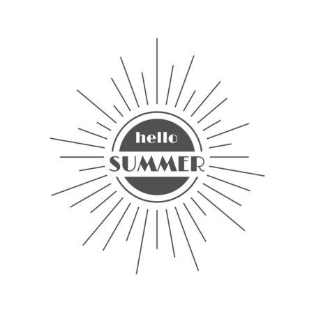 Hello Summer  illustration, background. Fun quote hipster design  label. Vintage lettering inspirational typography poster, banner