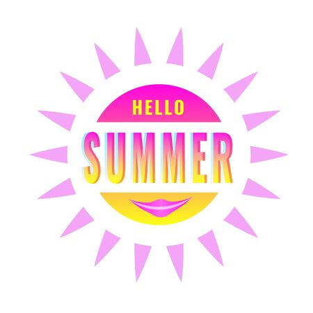Hello Summer, creative graphic message for your summer design. Retro typography sign with sunburst