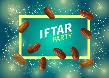 Iftar Party Banner with Realistic Vector Illustration of Dried Dates, Inscription and Frame on Blue Green Background. Ramadan Iftar Food