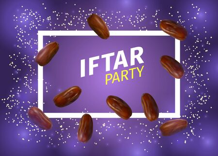 Iftar Party Banner with Realistic Vector Illustration of Dried Dates, Inscription and Frame on Violet Background. Ramadan Iftar Food