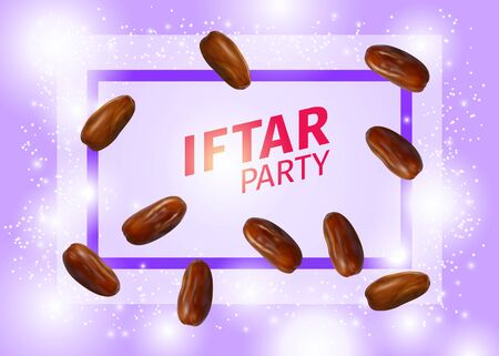 Iftar Party Banner with Realistic Vector Illustration of Dried Dates, Inscription and Frame on Pink Background. Ramadan Iftar Food