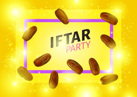 Iftar Party Banner with Realistic Vector Illustration of Dried Dates, Inscription and Frame on Yellow Background. Ramadan Iftar Food