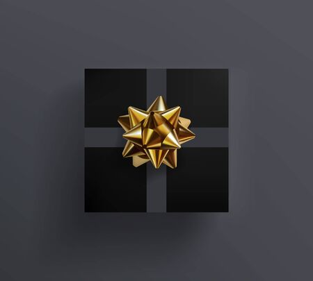 Black gift box with glittering golden bow and grey ribbons isolated on gray background. Vector realistic festive illustration. Decoration element for holiday design. Top view