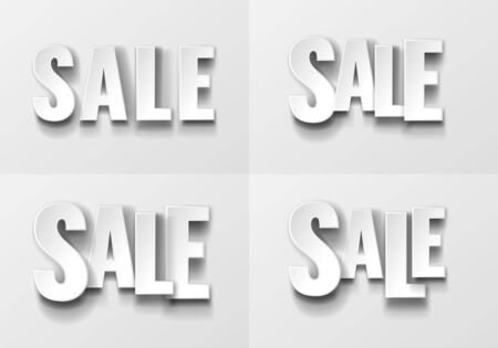 The inscription SALE from fat white letters with realistic shadow on a white background. Four variants from different combinations of letters in position and scale. Vector illustration Illustration