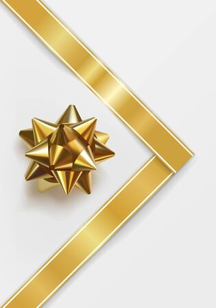 Glossy golden bow. Glowing bow with gold ribbon isolated on white background. Festive decorative element for design. Holiday gift decoration. Greeting card template. Realistic vector illustration