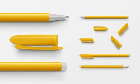 Set of yellow colored office pens and caps in horizontal position, realistic vector illustration